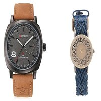 Curren Broun and Blue Leather  Watches Couple for Men and Women