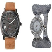 Curren Broun and Black Fancy Zulla Silver  Watches Couple for Men and Women