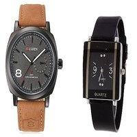 Curren Brown and Black Kawa Watches Couple For Men and Women