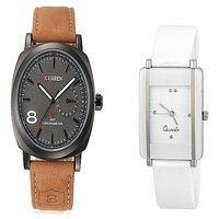 Curren Brown and White Kawa Watches Couple For Men and Women