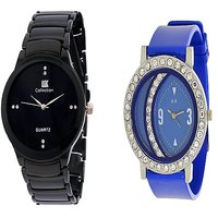 IIK Collction Black and  Glory Blue Diamond Moon Women Watches Couple for Men and Women