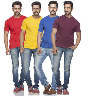 Demokrazy Men's Round neck Half sleeves T-shirt (Pack of 4)