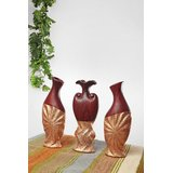 Home Stopper Set Of 3 Crimped Brown And Golden Ceramic Vases