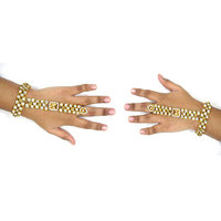 Golden White Stone 3 Line Bracelet with Ring