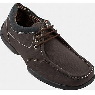 Bark Brown Faux Leather Casual Shoes