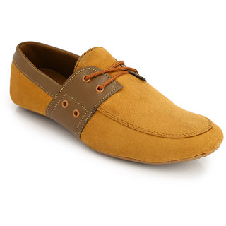 Lords Mens Tan Casual Lace-Ups Shoes