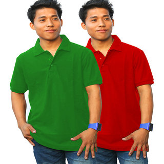 Combo Offer For Green And Red Colour Polo Tees In One Pack