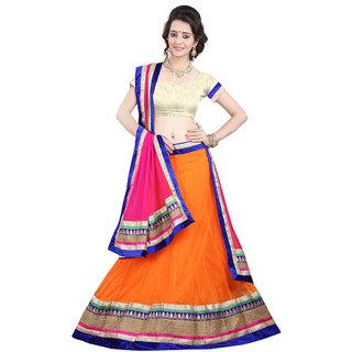 Anu Clothing Orange Net Lehenga