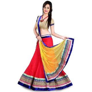 Anu Clothing Red Net Lehenga Choli