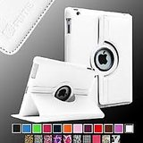 White 360 Rotating Stand Leather Case Cover For Apple IPad 4, Ipad 3, Ipad 2