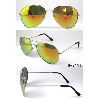 Mirror Coated Silver Orange Sunglasses