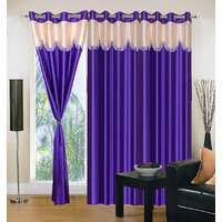 Handloomhub Stylish Purple With Cream Laces Curtain (set Of 3)