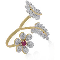 Jewels Galaxy Enchanting Flowers Leaf American Diamond Double Finger Free Size Ring