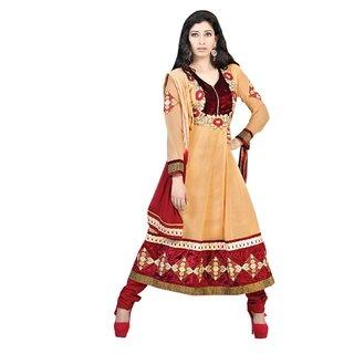 Triveni Beautiful Embroidered Velvet Bordered Faux Georgette Anarkali Suit
