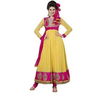 Triveni Elite Golden Embroidered Party Wear Faux Georgette Anarkali Suit