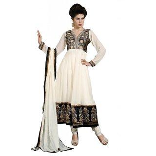 Triveni Fashionable Golden Embroidered Party Wear Faux Georgette Anarkali Suit