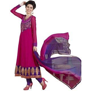 Triveni Remarkable Traditional Motif Broad Bordered Faux Georgette Anarkali Suit