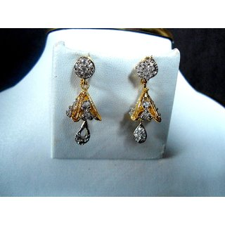 Marvina Designer Jhoomki Small Earings With Stones And Gold Finish