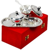Gift Set Silver Plated Brass Mouth Freshner Bowl Set Of 5 Pcs
