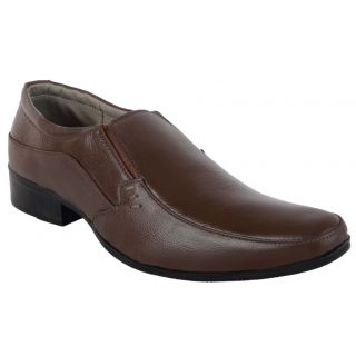Woakers Men's Brown Genuine Leather Slip-Ons Shoes