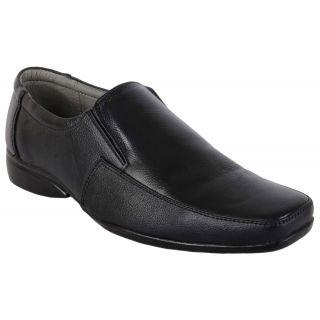 Woakers Men's Black Leather Formal Slip-Ons