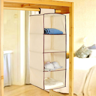 Portable Multi Shelf Cream Cloth Hanging Almirah Rack Holder Foldable Wardrobe available at ShopClues for Rs.399