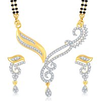 Sukkhi Ravishing Gold  Rhodium Plated Cubic Zirconia Studded Mangalsutra Set