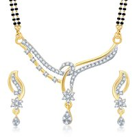 Sukkhi Attractive Gold  Rhodium Plated Cubic Zirconia Studded Mangalsutra Set