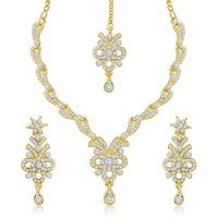 Sukkhi Golden Alloy Necklace Set For Women