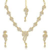 Sukkhi Golden Alloy Silver Plated Necklace Set For Women