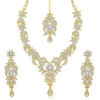 Sukkhi Silver Alloy Gold Plated Necklace Set For Women