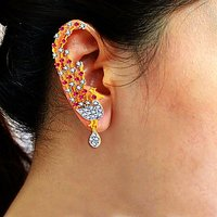 Sukkhi Ritzzy Gold  Rhodium Plated Cubic Zirconia  Ruby Studded Ear Cuff