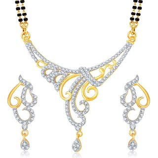 Sukkhi Eye-Catchy Gold  Rhodium Plated Cubic Zirconia Studded Mangalsutra Set