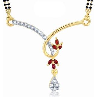 Sukkhi Exquisite Gold & Rhodium Plated Cubic Zirconia & Ruby Mangalsutra Pendant