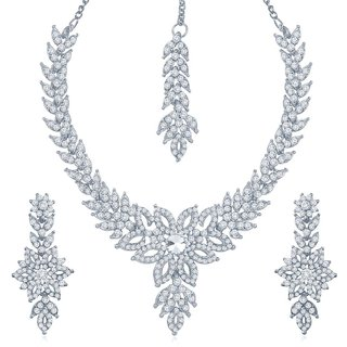 Sukkhi Bewitching Rhodium Plated Australian Diamond Stone Studded Necklace Set