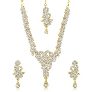 Sukkhi Ravishing Gold Plated Australian Diamond Stone Studded Necklace Set