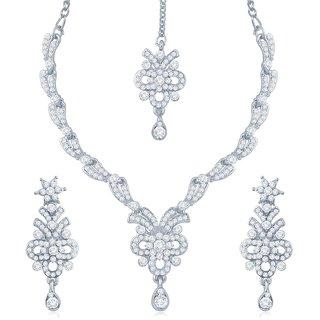 Sukkhi Glistening Rhodium Plated Australian Diamond Stone Studded Necklace Set