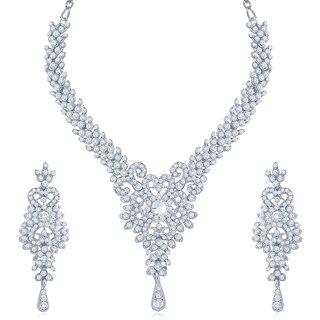 Sukkhi Alluring Rhodium Plated Australian Diamond Stone Studded Necklace Set
