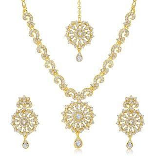 Sukkhi Fabulous Gold Plated Australian Diamond Stone Studded Necklace Set