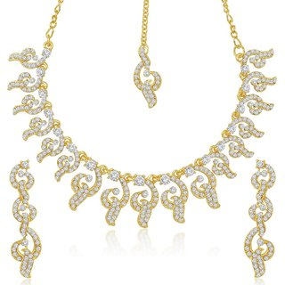 Sukkhi Classic Gold Plated Australian Diamond Stone Studded Necklace Set