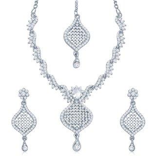 Sukkhi Sleek Rhodium Plated Australian Diamond Stone Studded Necklace Set