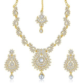 Sukkhi Glorius Gold Plated Australian Diamond Stone Studded Necklace Set