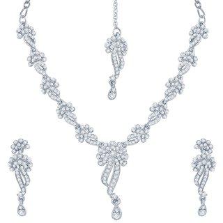 Sukkhi Appealing Rhodium Plated Australian Diamond Stone Studded Necklace Set