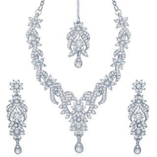 Sukkhi Attractive Rhodium Plated Australian Diamond Stone Studded Necklace Set