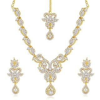 Sukkhi Stylish Gold Plated Australian Diamond Stone Studded Necklace Set