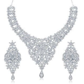 Sukkhi Eye-Catchy Gold & Rhodium Plated Australian Diamond Studded Necklace Set