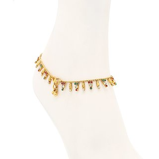 Sukkhi Intricately Gold Plated Australian Diamond Stone Studded Anklet