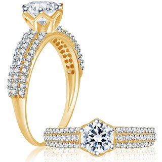 Sukkhi Classy Gold and Rhodium Plated Cubic Zirconia Stone Studded Solitaire Ring