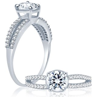 Sukkhi Glimmery Rhodium Plated Cubic Zirconia Stone Studded Solitaire Ring