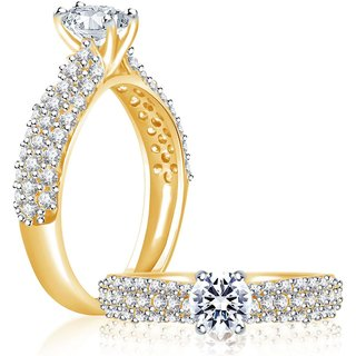 Sukkhi Ritzzy Gold And Rhodium Plated Cubic Zirconia Stone Studded Solitaire Ring